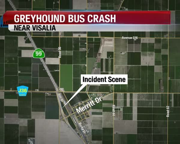 Greyhound bus crash near Visalia