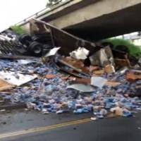 Shipment of Beer Spills Onto Roadway When Big Rig Overturns in Southern California