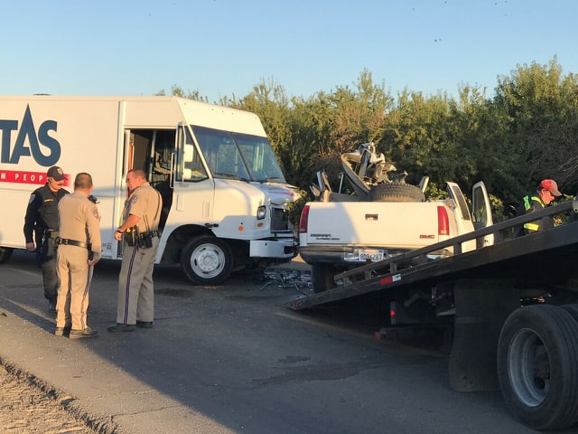 Driver suffers major injuries after head-on crash with laundry delivery truck