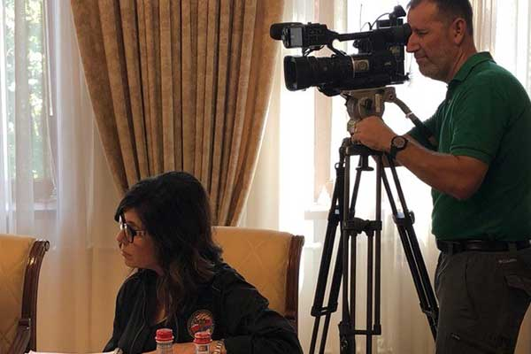 KSEE24's Stefani Booroojian and Kevin Mahan at the meeting with President Bako Sahakyan.