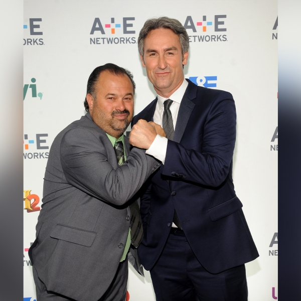NEW YORK, NY - APRIL 30: TV personalities Frank Fritz (L) and Mike Wolfe attend 2015 A+E Networks Upfront on April 30, 2015 in New York City. (Photo by Brad Barket/Getty Images for A+E)