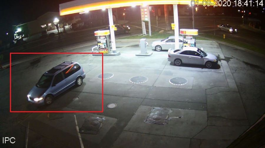 Security footage shows the suspect vehicle in the hit and run death of a 61-year-old in Tulare (image courtesy of Tulare Police).