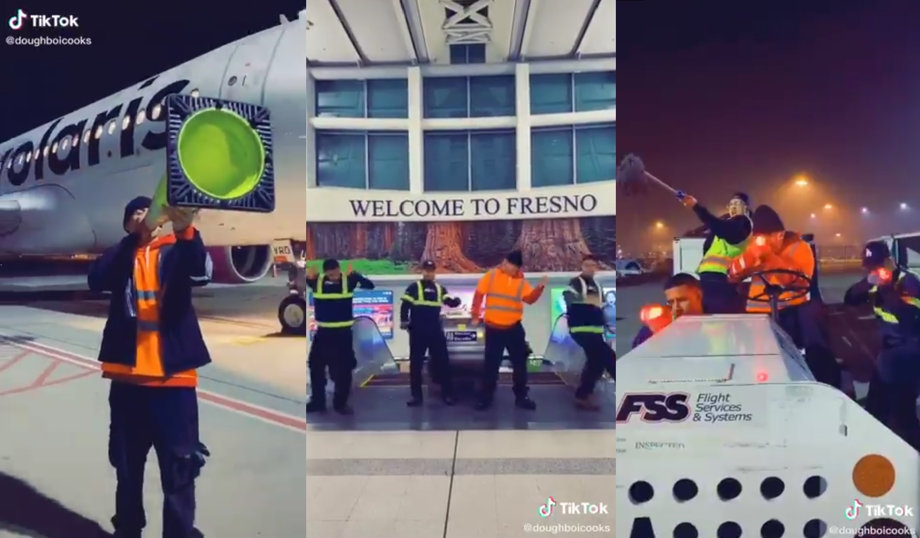 Viral video shows Fresno Yosemite Airport workers dancing at work.