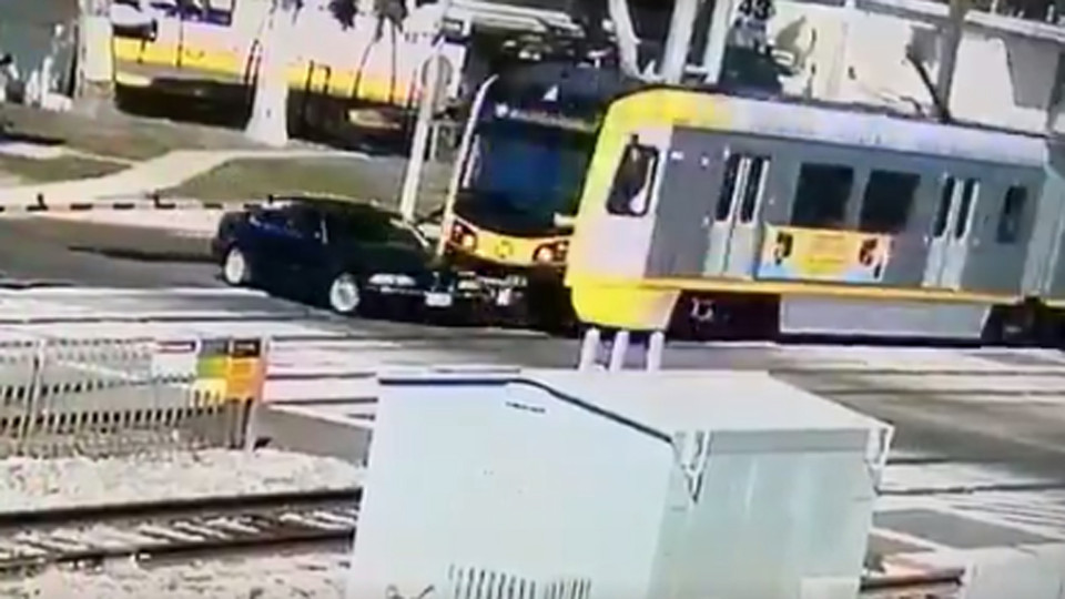 Dramatic video shows Metro Blue Line train crashing into driver who turned onto tracks