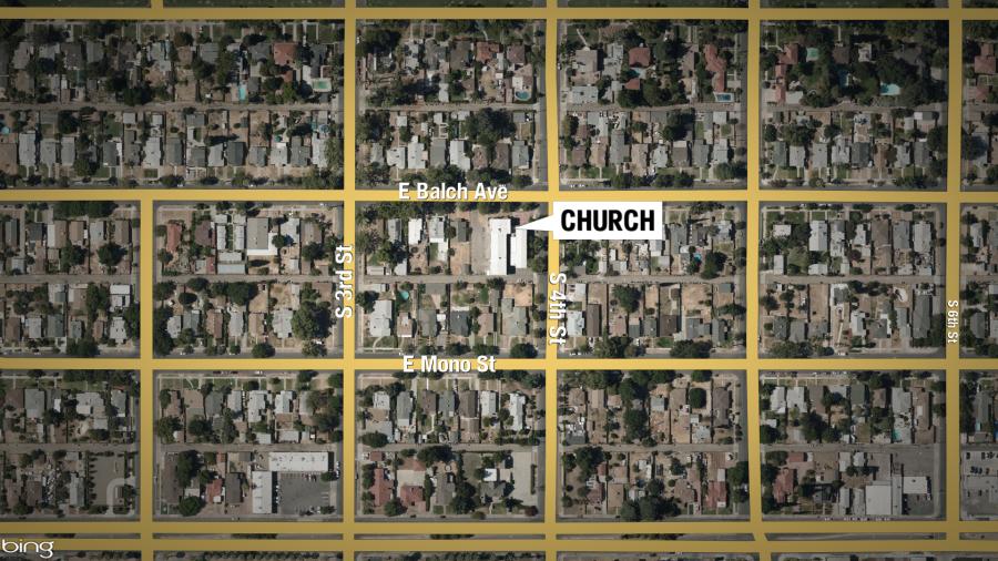 Map of Grace United Methodist Church, Fresno