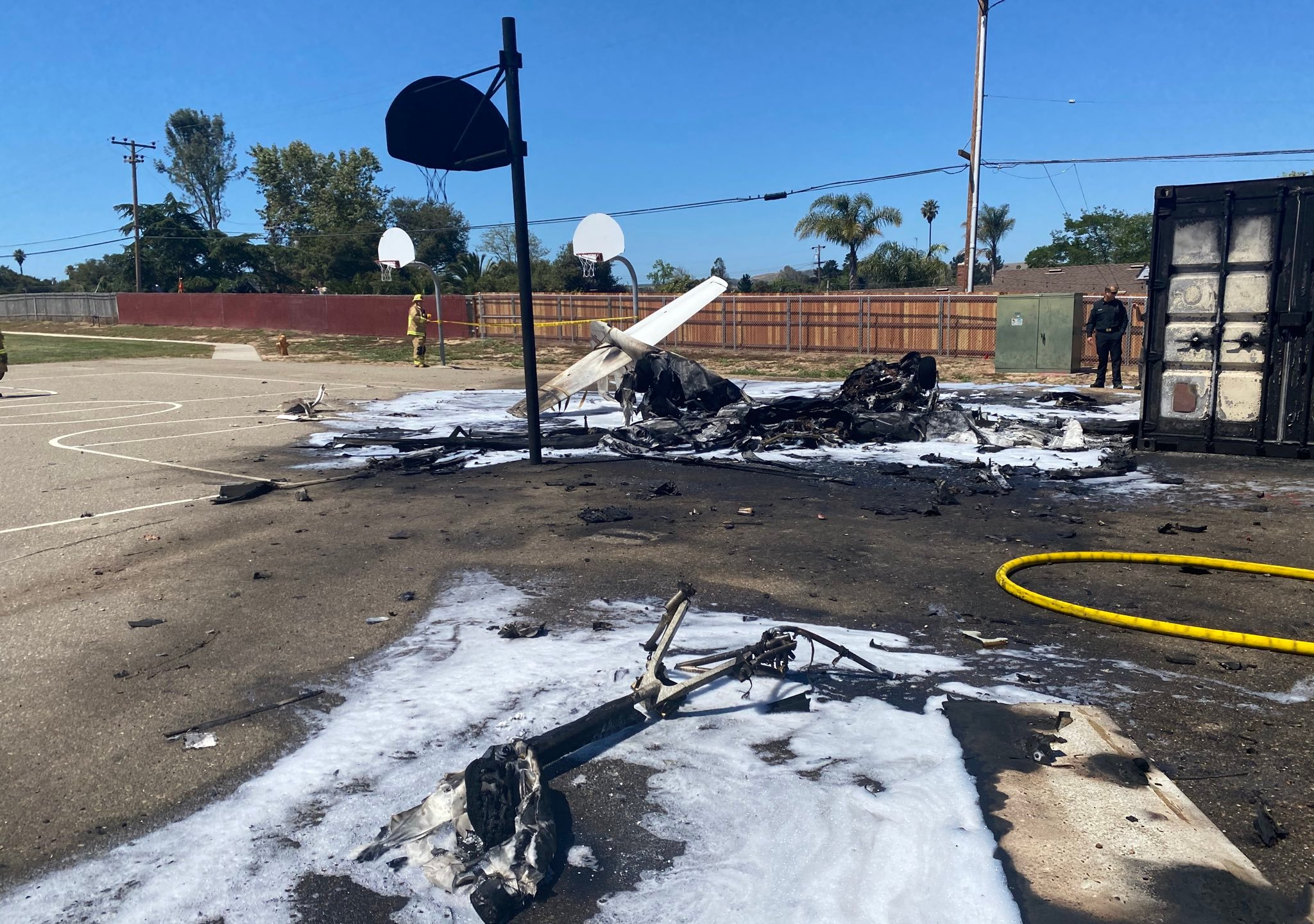 Pilot killed after plane crashes on elementary school playground in Santa Maria (image courtesy of Santa Maria Fire Department)
