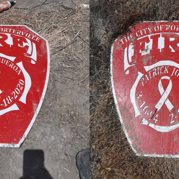 The two remembrance shields for the two firefighters recovered by Tulare County Sheriff's Office.