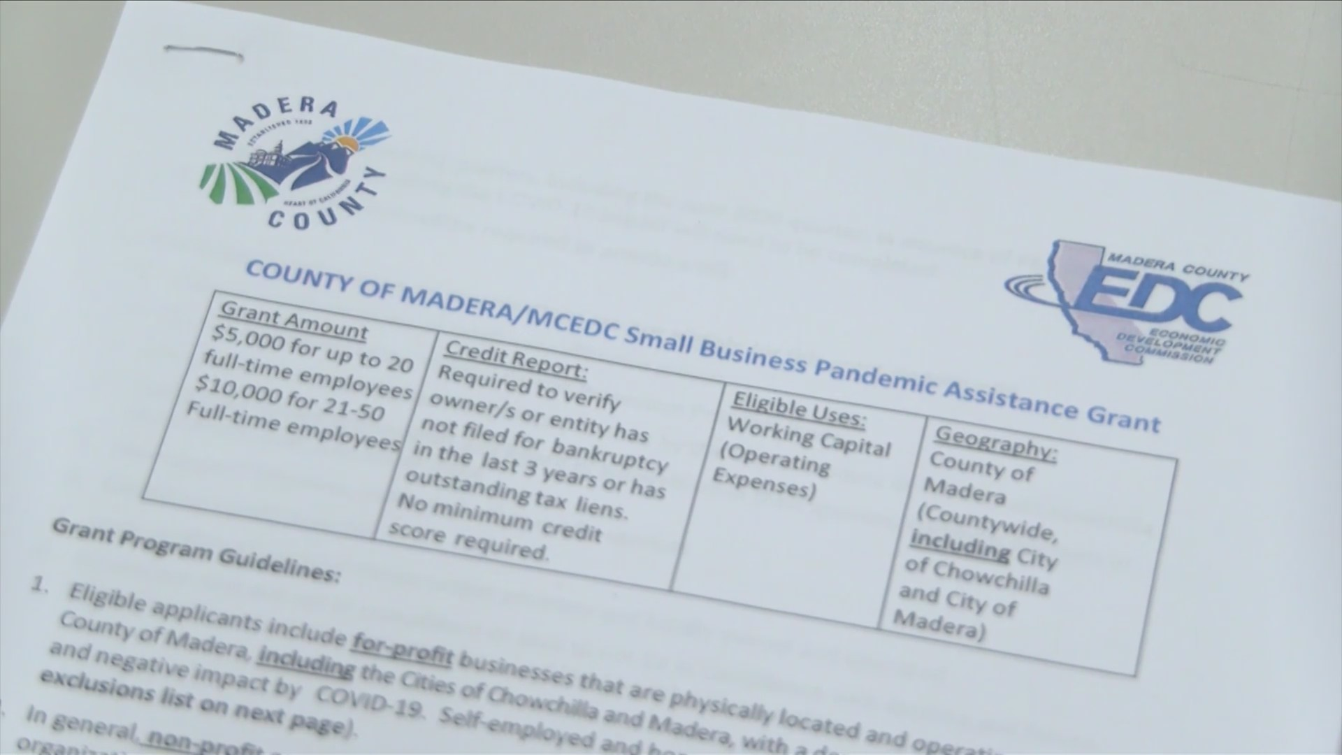 Small business COVID-19 relief grants now available in Madera County