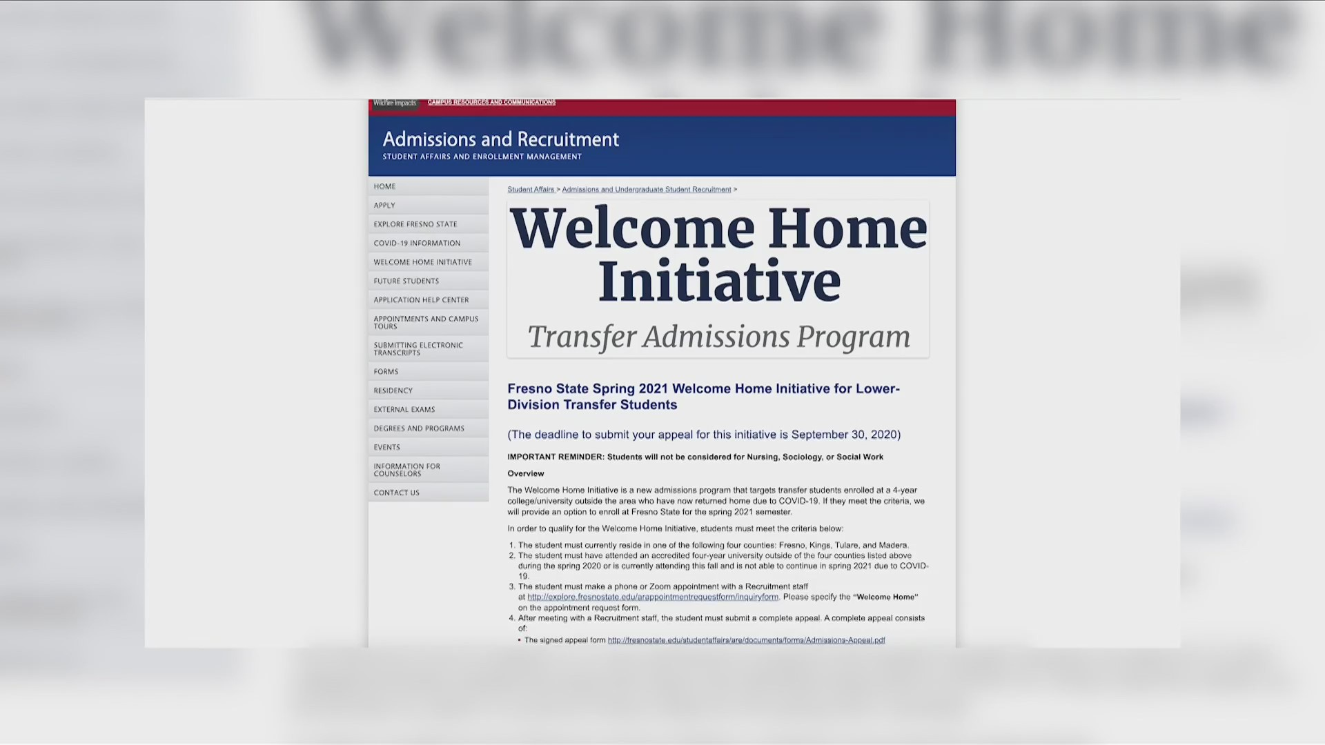 Continuing studies with the 'Welcome Home Initiative'