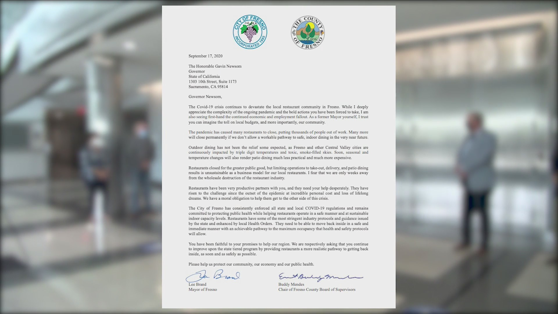 Fresno city and county leaders ask Gov. Newsom to allow restaurants to reopen indoor dining