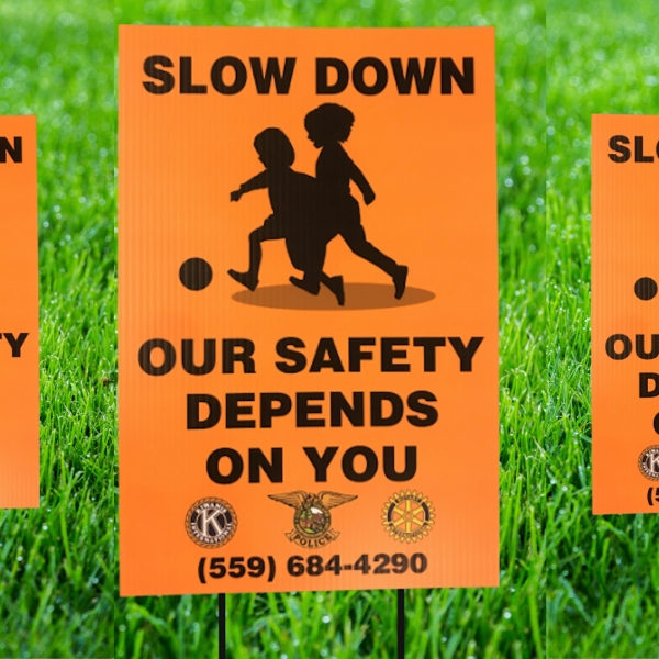 Tulare Public Library offering free 'slow down' yard signs