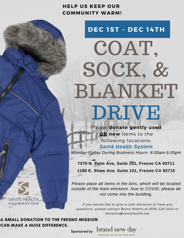 Salte Health Foundation 2020 coat, blanket and sock drive flyer