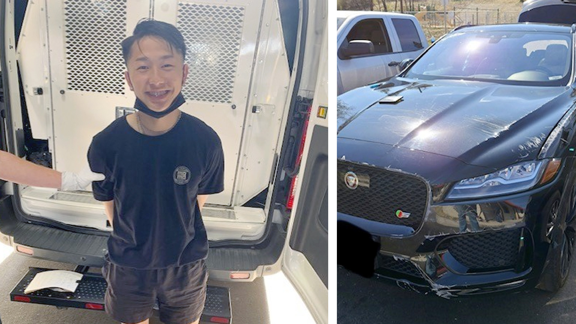 Photo of Jess Vang, 19 of Fresno and the Jaguar F-Pace stolen from a Clovis Red Carpet Car Wash
