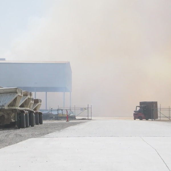 Fire at Coalinga almond plant continues to burn