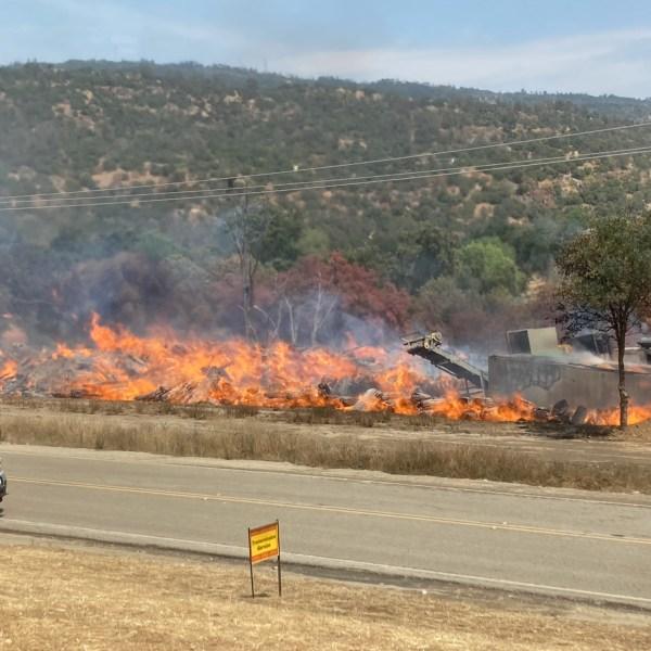 Crews battling fire at Auberry lumber mill (3)