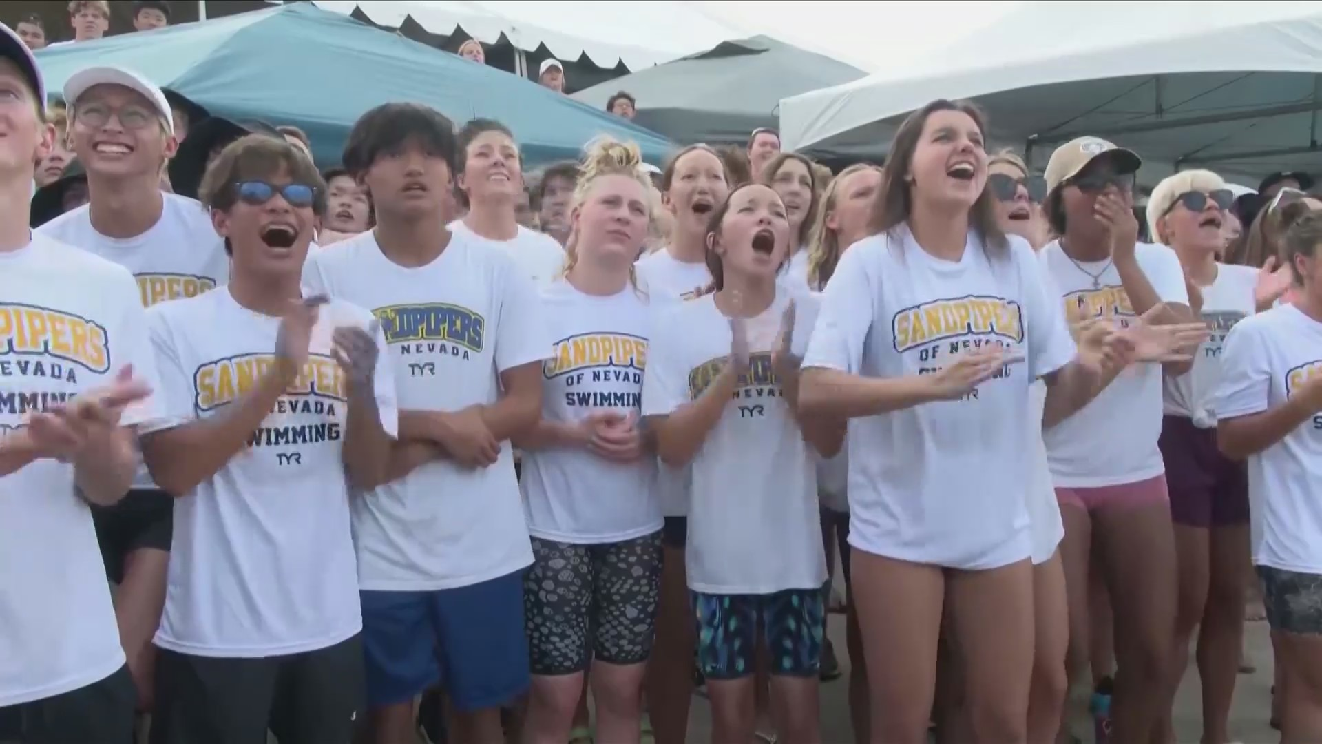 Young local swimmers cheer on Katie Grimes' Olympic performance